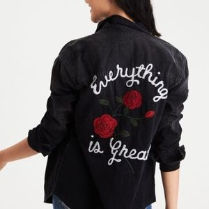"""American Eagle """"Everything is Great"""" Denim Shirt"""